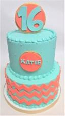 two tier chevron birthday cake