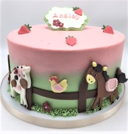baby shower farm fence cake
