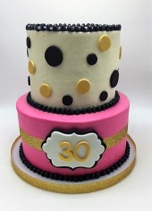 black gold and pink 2-tier 30th birthday cake (2)