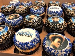black panther edible image cupcakes