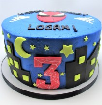blue spider man night sky 3rd birthday cake - 2