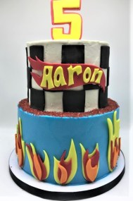 two tier hot wheels flame cake