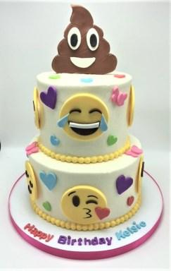 two tier poop emoji cake