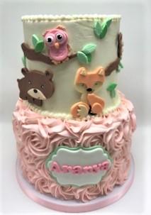 two tier rosette woodland animal cake
