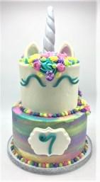 two tier unicorn cake watercolor