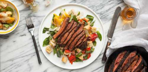 Coffee-Rubbed Steak with Roasted Pepper Panzanella