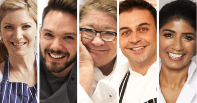 (l-r): BBC Celebrity Masterchef winner Lisa Faulkner, Great British Bake Off winner John Whaite, Chef Rosemary Schrager, Chef Dhruv Baker, Chef Anjula Devi