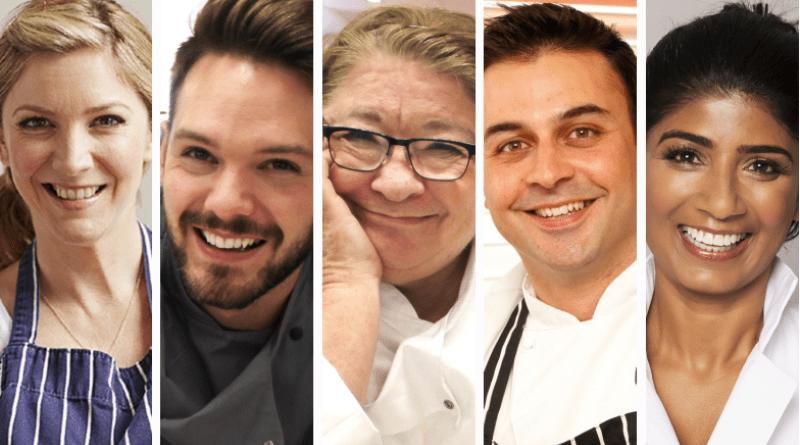 (l-r): BBC Celebrity Masterchef winner Lisa Faulkner, Great British Bake Off winner John Whaite, Chef Rosemary Schrager, Chef Dhruv Baker, Chef Anjula Devi