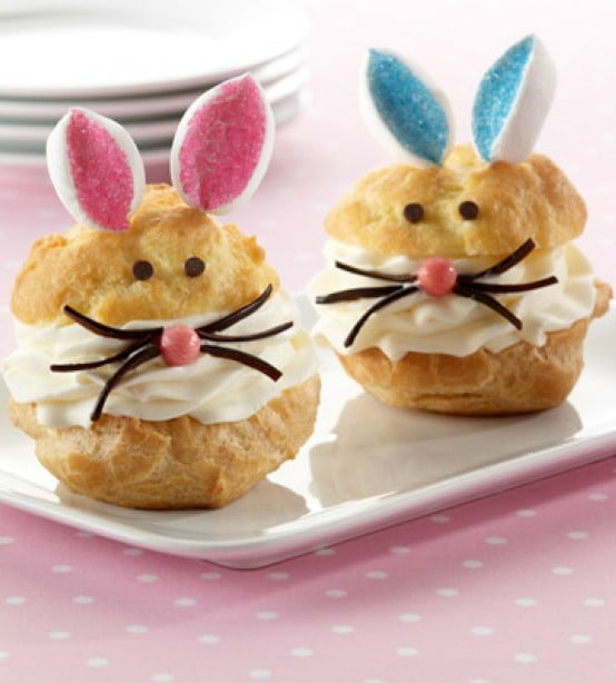 These delightful bunny cream puffs will make young and old smile. They taste great too! #Easter #dessert