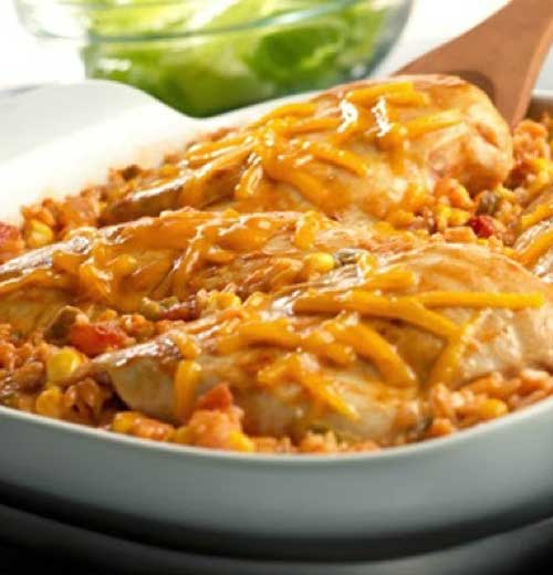 Got 5 minutes?  That\'s all you need to put together this tasty, picante-spiked dish.  Then just pop it in the oven, and in less than an hour, you\'ll have a cheesy, family-friendly dish.
