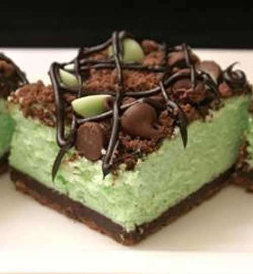 St Patricks Chocolate Mint Cheesecake Bars