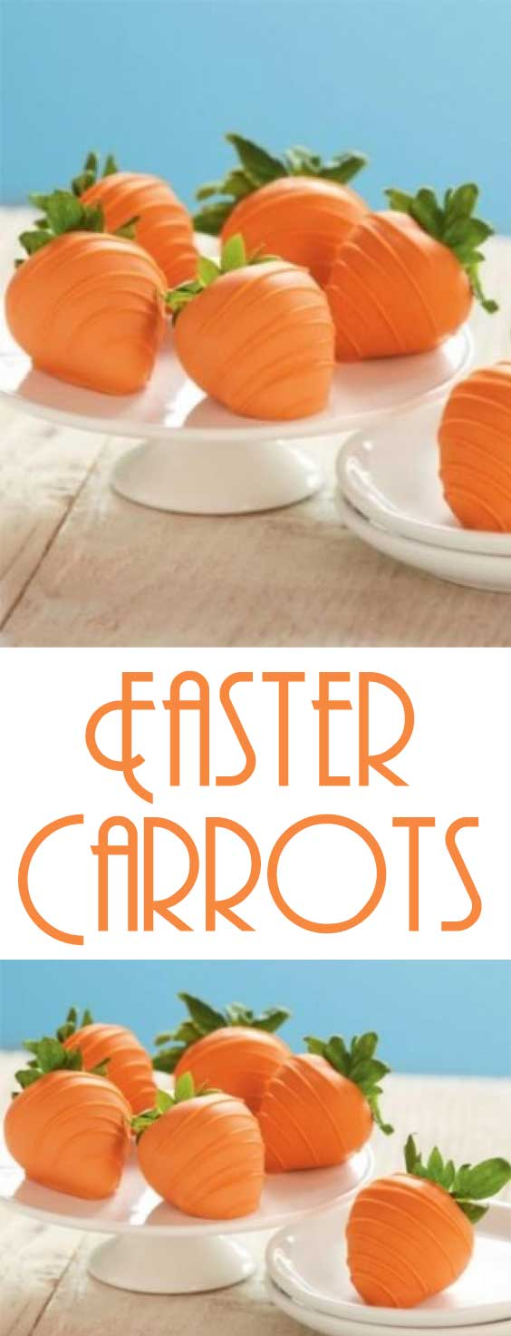 Disguise sweet strawberries as bunny-friendly Easter carrots for a fun treat table addition. #easterrecipe #strawberries #holidayrecipe