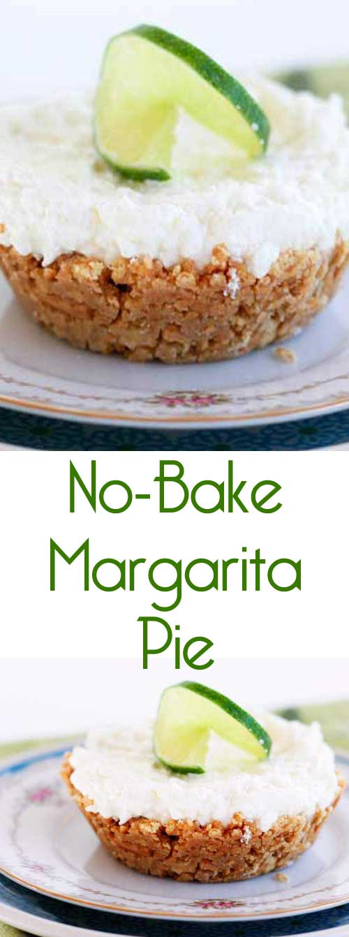 This is an easy, no-bake dessert with an adult-twist, and it's the perfect way to have a mini-celebration at home! #adultrecipe #margaritapie #margaritadessert