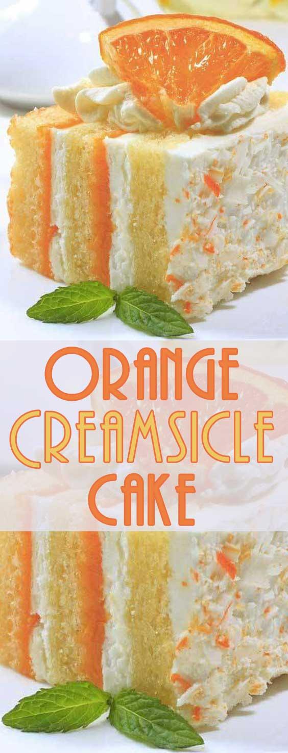 If you Love the taste of Orange Creamsicle Popsicles, you'll Love this Orange Creamsicle Cake! And nothing says that warmer weather is on the way than the bright taste of citrus! #orangecake #dessertrecipe #springbaking #cakerecipe