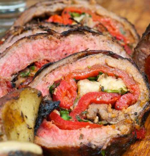 Recipe for Grilled Italian Stuffed Flank Steak