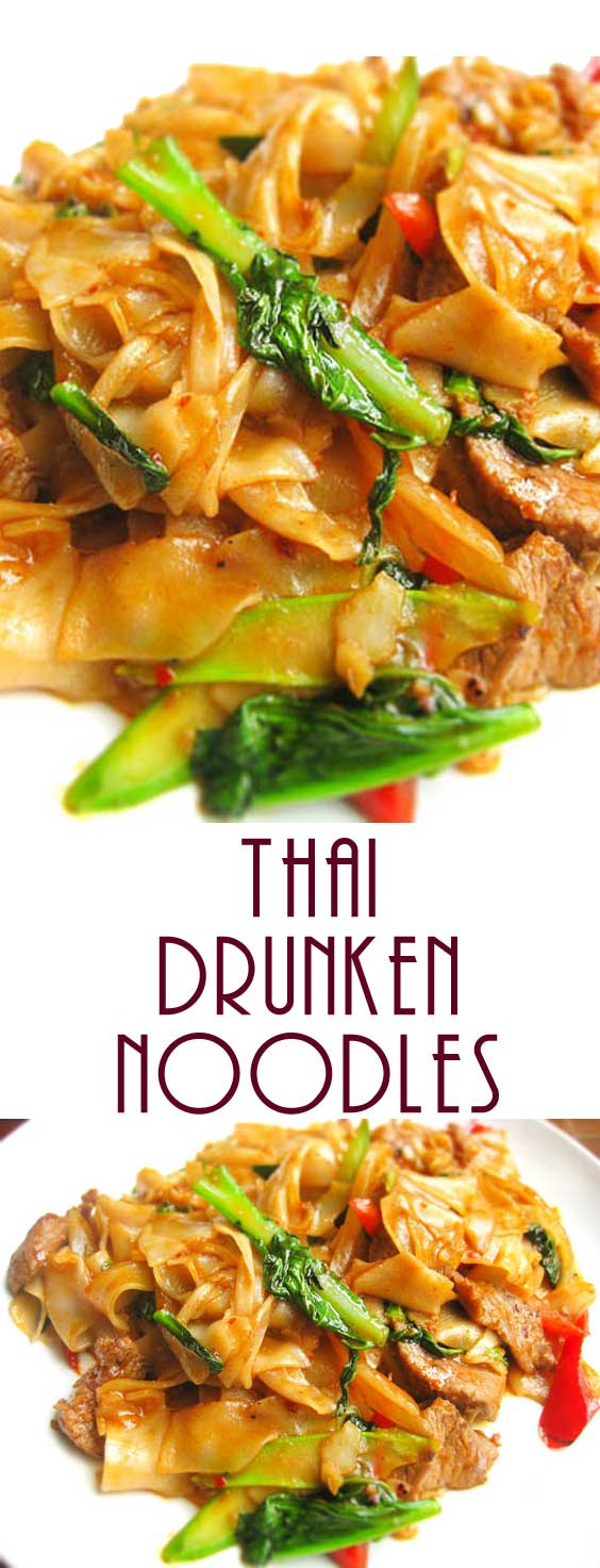 There isn't a drop of alcohol in this dish — the name Thai Drunken Noodles refers to how much you'll want to drink to combat the heat. We suggest a nice cold beer or sparkling wine. #thaifood #thairecipe #dinnerideas