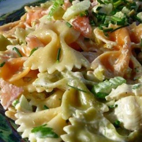 The perfect pasta salad for picnics, potlucks and gatherings. I've made this without the mayo, using the artichoke marinade in it's place, and it was equally fabulous and well received! Best served well chilled.