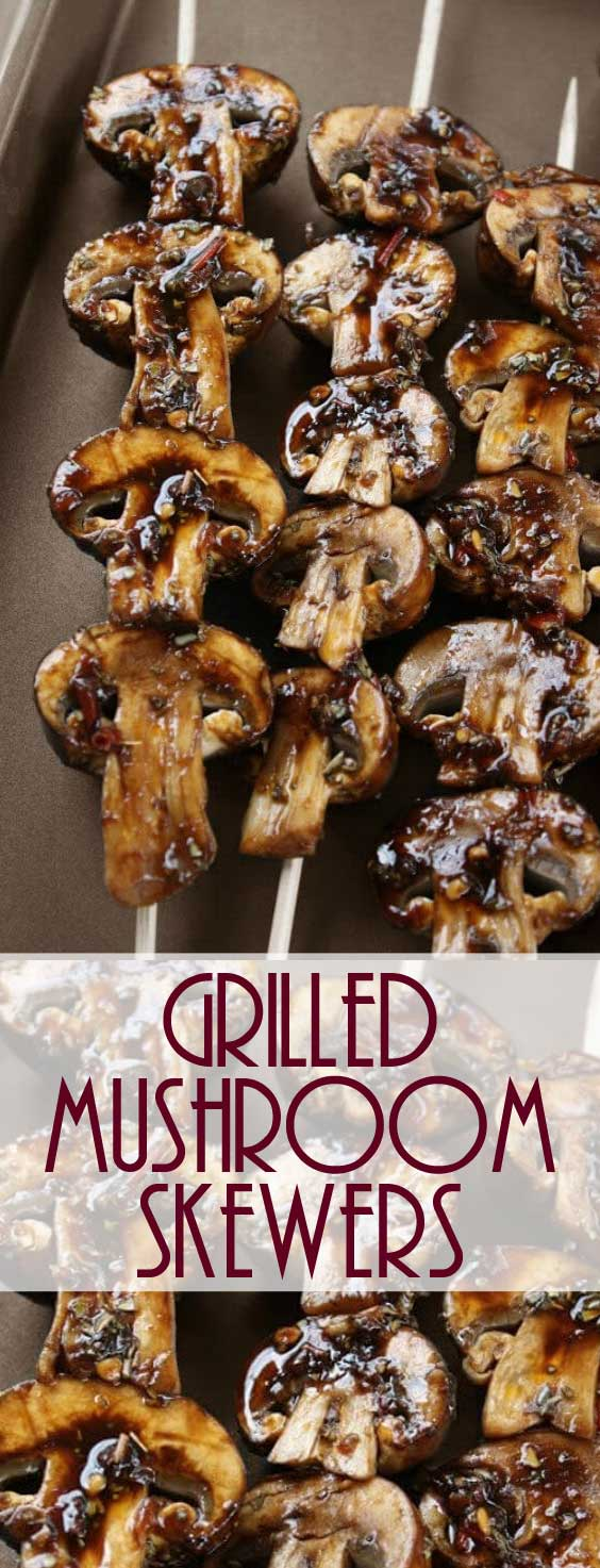I absolutely love these Grilled Mushroom Skewers in every way! I could eat them every day, PLUS they taste so good and are healthy too! #grilling #mushroomrecipe #healthyrecipe #sidedish