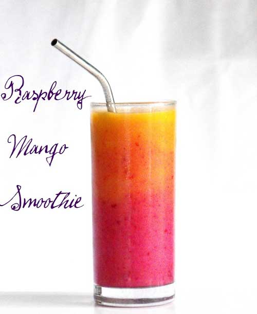 Recipe for Raspberry Mango Sunrise -  I love making smoothies. For breakfast, after a workout, for a quick snack, a sweet treat after dinner. Anytime is a good time for a yummy smoothie.