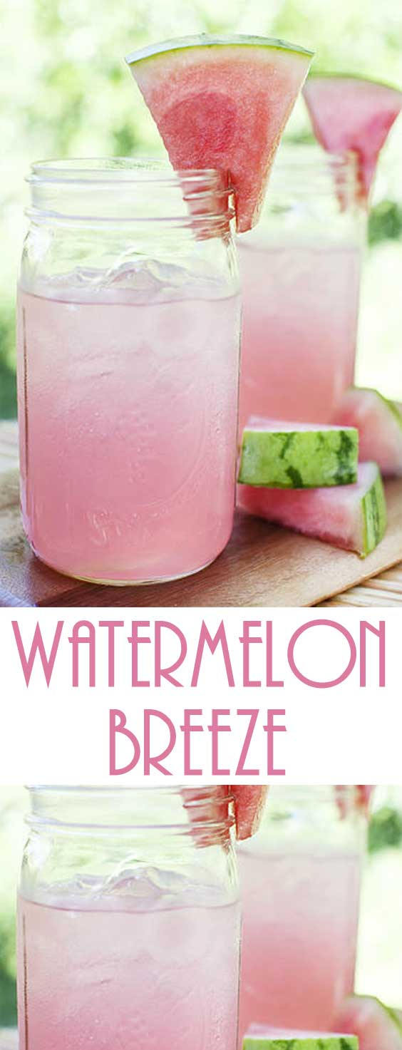 Fresh, light and low cal summer drinks that are an easy breezy treat! All you need is a blender to whip up this Watermelon Breeze recipe. #summerdrinks #drinkrecipe #healthydrink