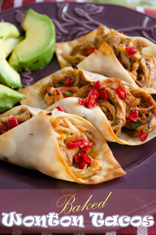 Recipe for Baked Wonton Tacos - When I saw that you can use wonton skins to make little tacos, I immediately experimented with the idea. These little tacos are bite sized yummy goodness.