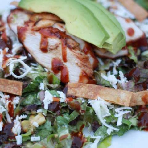 "Recipe for BBQ Chicken Salad - We have a wonderful cafe, Jeannine's, here in SB that has the most wonderful coffee, pastries, soups, sandwiches and salads. One of my all time favorite salads is their Mexican bbq chicken salad. It's light and extremely flavorful! I picked the salad apart one day while eating it and came up with the ""recipe"", or my version at least."