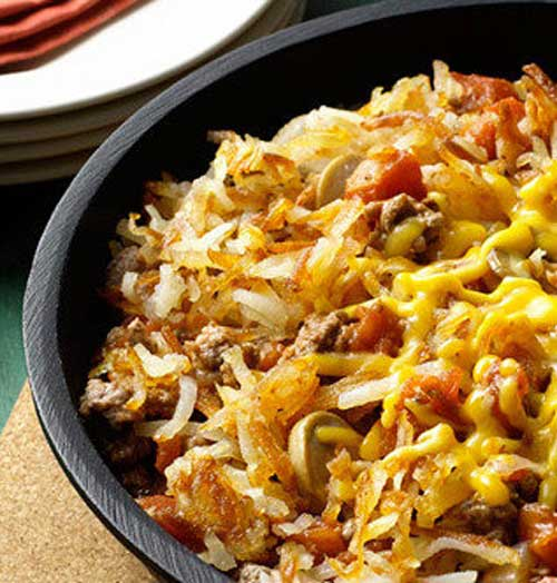 Cheesy Hashbrown Skillet Dinner