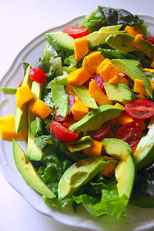 Recipe for Avocado Mango and Tomato Salad - This easy to prepare salad brings to mind all of the beautiful, fresh, and tropical flavors of South America.