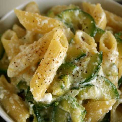 Ricotta is one of those rich-in-protein cheeses that's actually good for you, so eat up with this Penne with Zucchini and Ricotta recipe. Have seconds and remember when you're feeling uninspired, to just get back to what you love.
