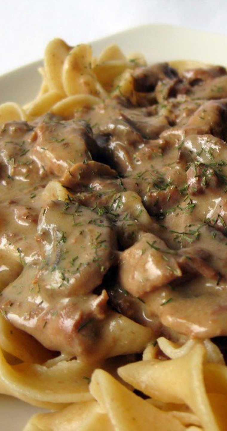 I am not a huge fan of red meat but this Slow Cooker Beef Stroganoff is to die for!  The only problem is finding porcini mushrooms. #beef #slowcooker #dinnerideas #comfortfood