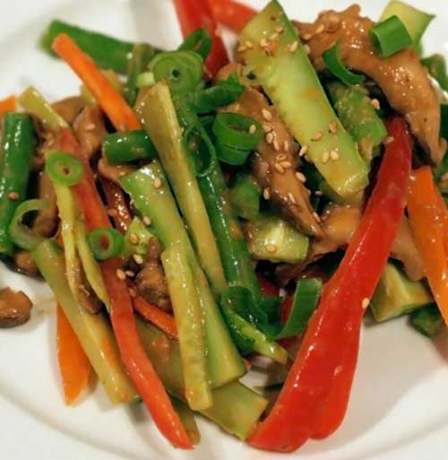 Crunchy Cucumber Salad with Sesame and Peanut Dressing