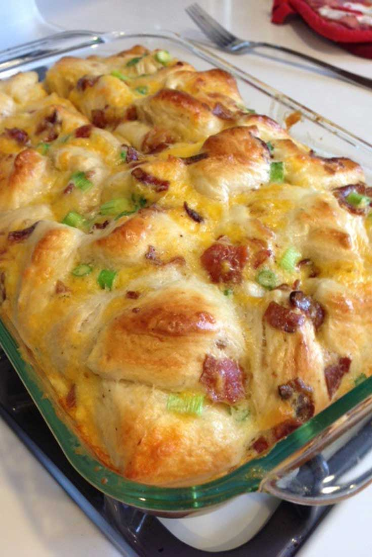 When I first saw the recipe that inspired thisComfort Bake Yum, it had a lot fewer ingredients and was intended as a snack. I stepped it up a few notches and made it a breakfast feast! #breakfast #casserole