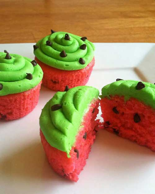 Aren't these watermelon cupcakes just the cutest things you've ever seen? Watermelon just shouts SUMMER, doesn't it? Summer BBQ's. Summer Parties.