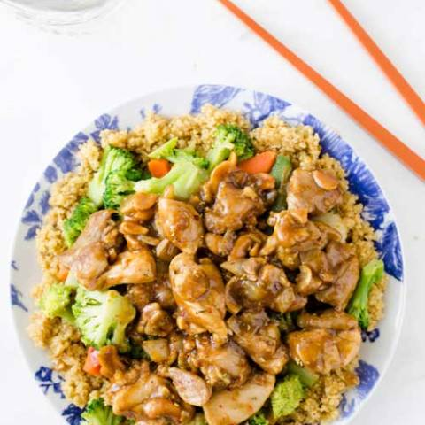 Recipe for Slow Cooker Cashew Chicken - I love the savory chicken pieces with the crunchy cashews. PLUS it is super easy to make!