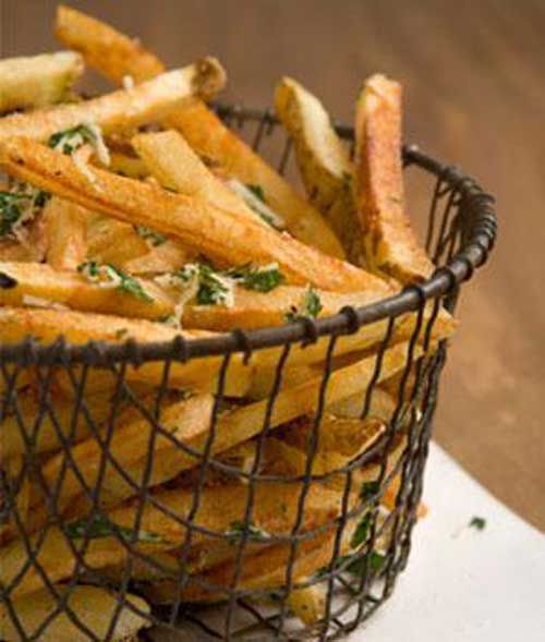 These Garlicky French Fries with Parmesan and Parsley will help you to eat what you love. Crispy fries, without all the extra fat and calories. Sounds like a winner to me!