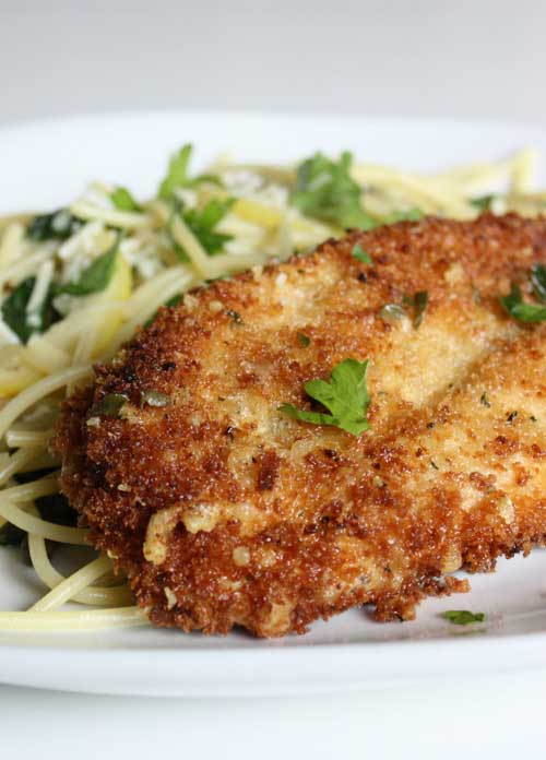 This Parmesan Crusted Chicken Picatta is quick and easy to put together, the entire dish has a freshness that I really enjoyed. Couple that with the crunch chicken and I was in chicken picatta heaven.
