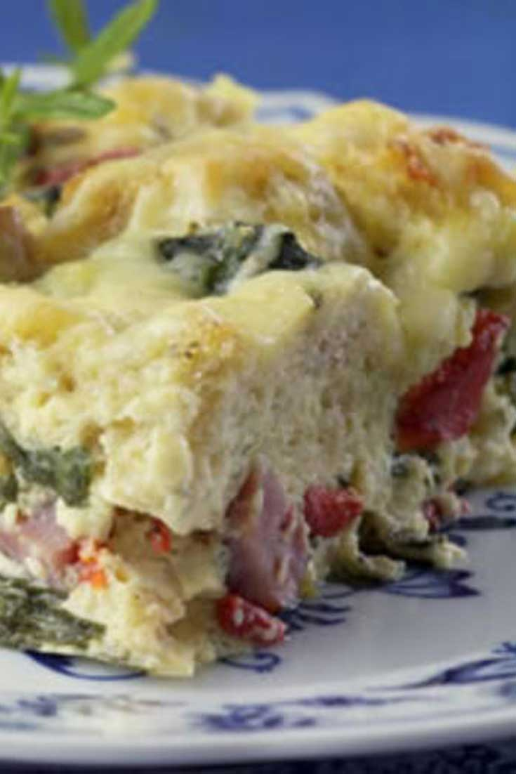 This Ham and Cheese Breakfast Casserole is a healthy update of a traditionally rich ham-and-cheese breakfast strata has plenty of flavor, with half the calories and one-third the fat of the original. #breakfast #casserole