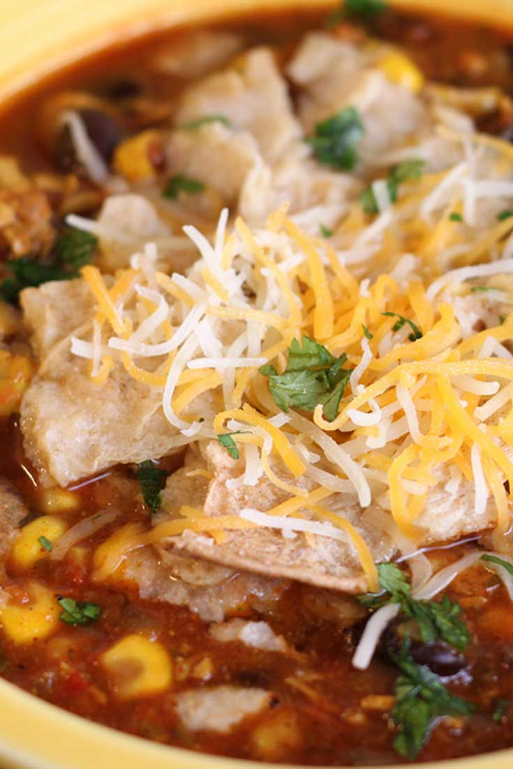 This chicken tortilla soup recipe matches the goodness of the tortilla soups found in Mexican restaurants. Very flavorful but not too spicy. #Mexican #soup #chicken #healthy