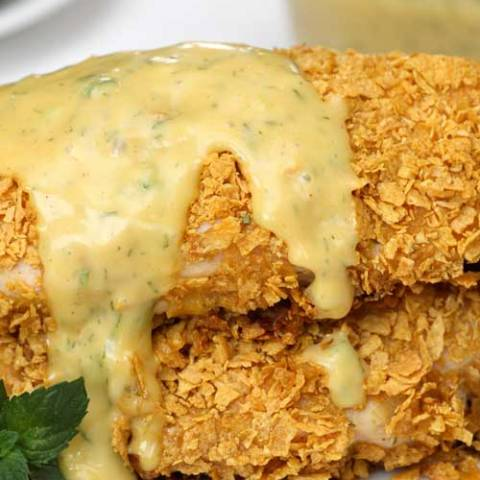 Recipe for Crusted Honey Mustard Chicken - This is a total comfort food with the crunchy breading and delicious sauce, and a good alternative to just plain baked chicken.