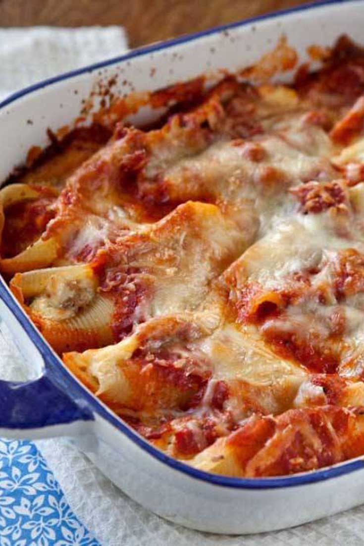 Now, if this hearty, homey, stick-to-your-ribs, Italian Sausage and Cheese Stuffed Shells doesn't hit the spot, I don't know what will. #pasta #sausage #Italian #comfortfood #casserole