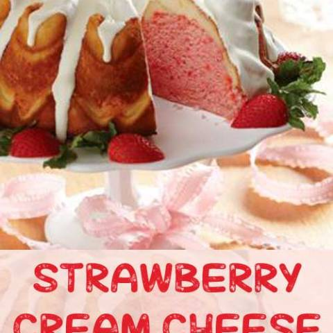 Recipe for Strawberry Cream Cheese Ribbon Cake - This cake features a cream cheese ribbon that runs through the single strawberry layer.