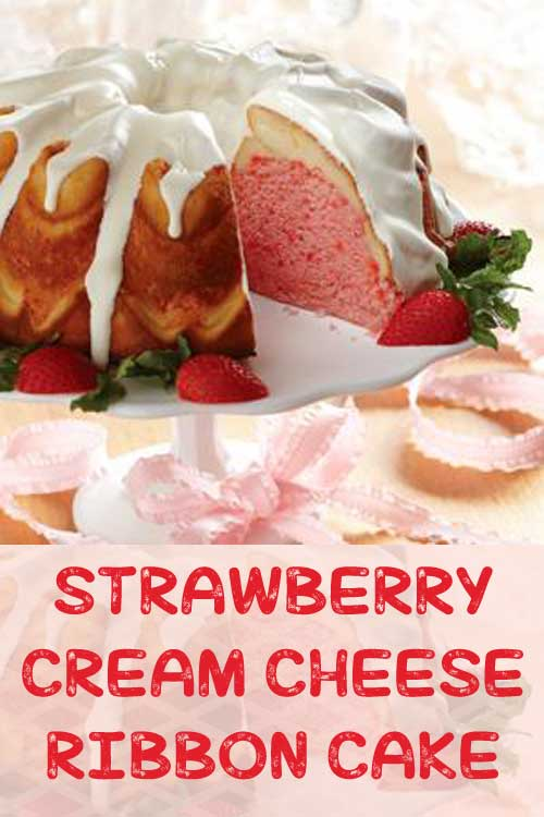 This Strawberry Cream Cheese Ribbon Cake features a cream cheese ribbon that runs through the single strawberry layer.