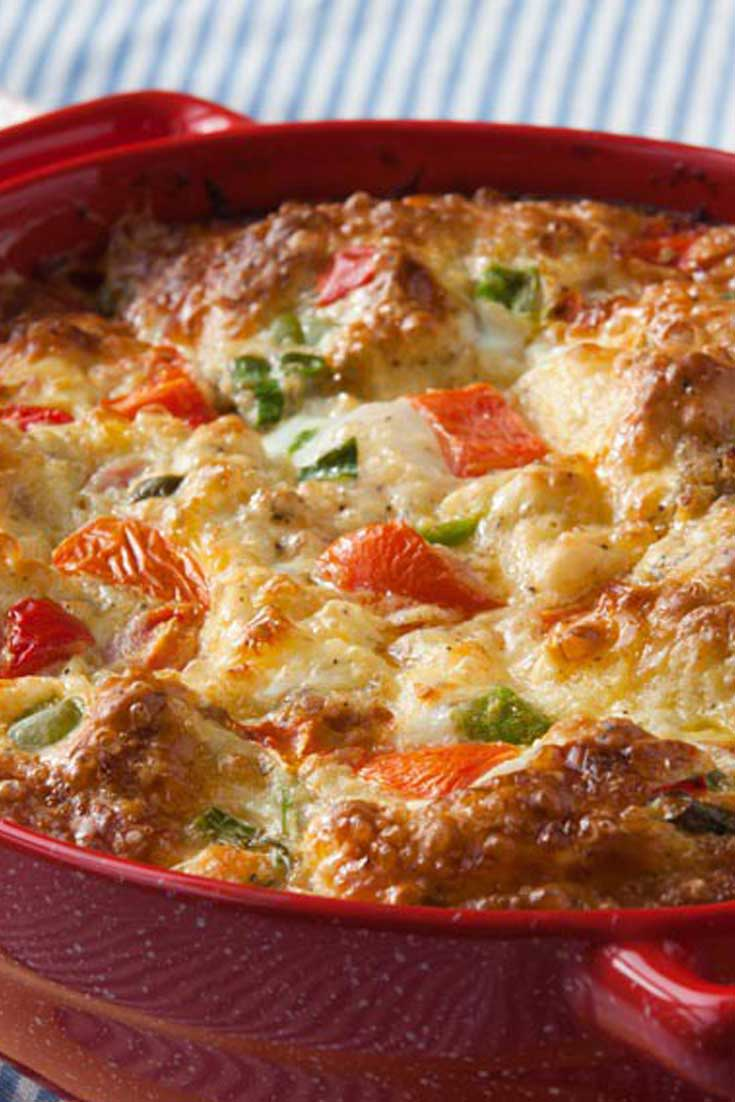 Our family always has this Southern Veggie Brunch Casserole for dinner, and it's fondly called 'brinner' by our two children. #brunch #casserole