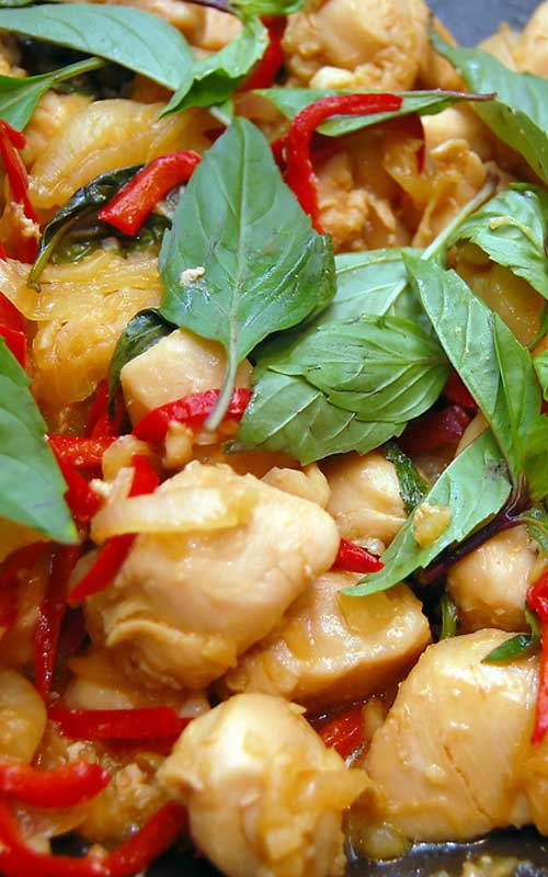 ThisThai Basil Chicken is a healthy, Thai-influenced dish that isn't too spicy and has lots of texture, with the moist chicken and crunchy cashews.