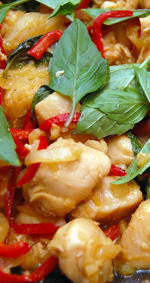 This is a healthy, Thai-influenced dish that isn't too spicy and has lots of texture, with the moist chicken and crunchy cashews.