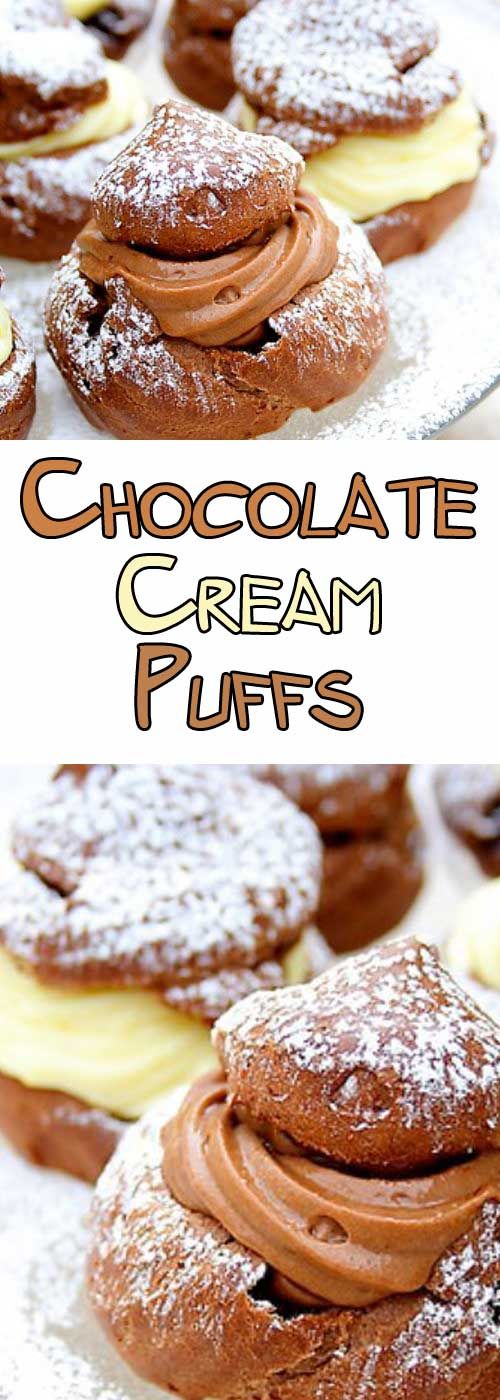 Everyone loves cream puffs, even more if they are chocolate! If you make these, they WILL disappear in a flash! #chocolate #dessertrecipe #baking