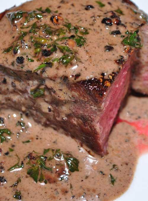My favorite fancy steak dish is Filet Mignon au Poivre (Filet Mignon with pepper). This is a simple version of the steak au poivre you've had in restaurants.