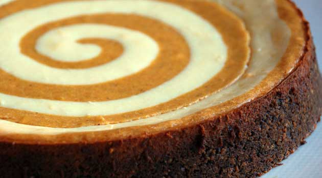Recipe for Pumpkin Cheesecake - This is the ultimate pumpkin cheesecake. It has a unique gingersnap crust and rich, luscious swirls of cheesecake and pumpkin. If you want something extra special you have to try this recipe.