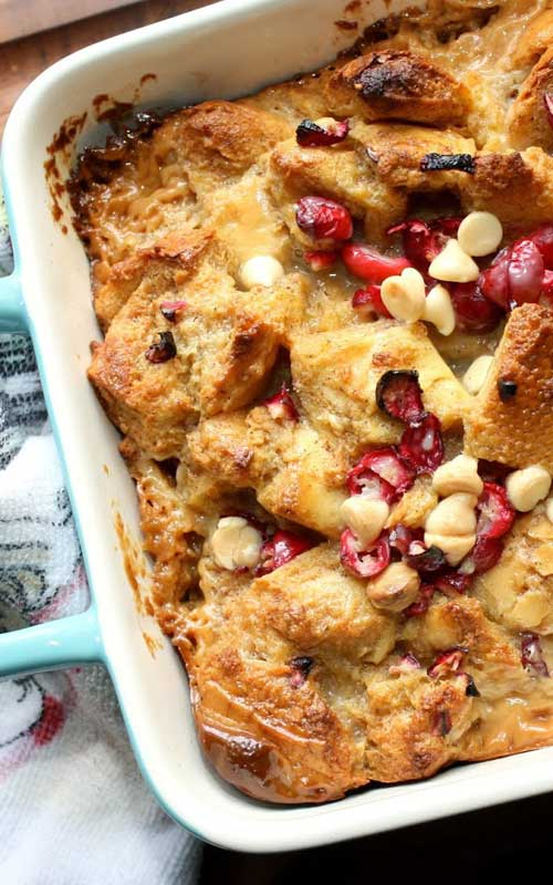 I really liked the flavors of this Baked White Chocolate Eggnog French Toast, and was very happy with how it came out. This makes a great breakfast dish, or you can have it as a late night dessert!