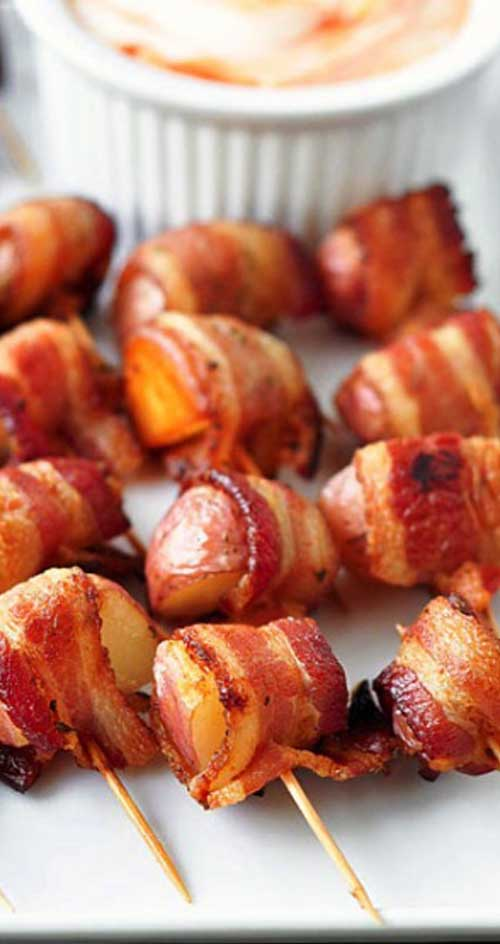 The perfect party food...potatoes and bacon! This is my goto recipe for any party, and they ALWAYS disappear!